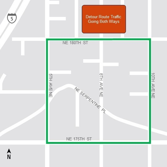 Map of 5th Ave NE detour area