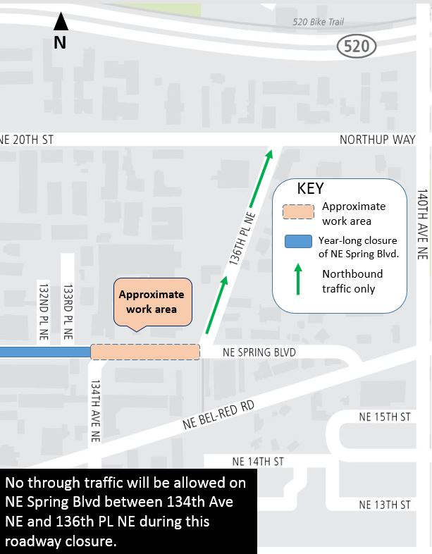 Map of Northeast Spring Boulevard nighttime closures.