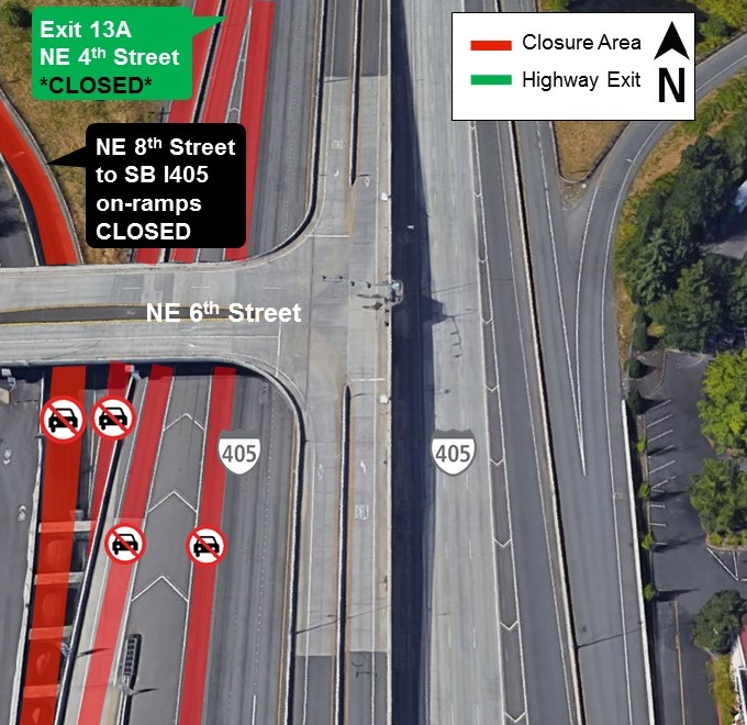 Map of I-405 closures in downtown Bellevue for Sept. 5.