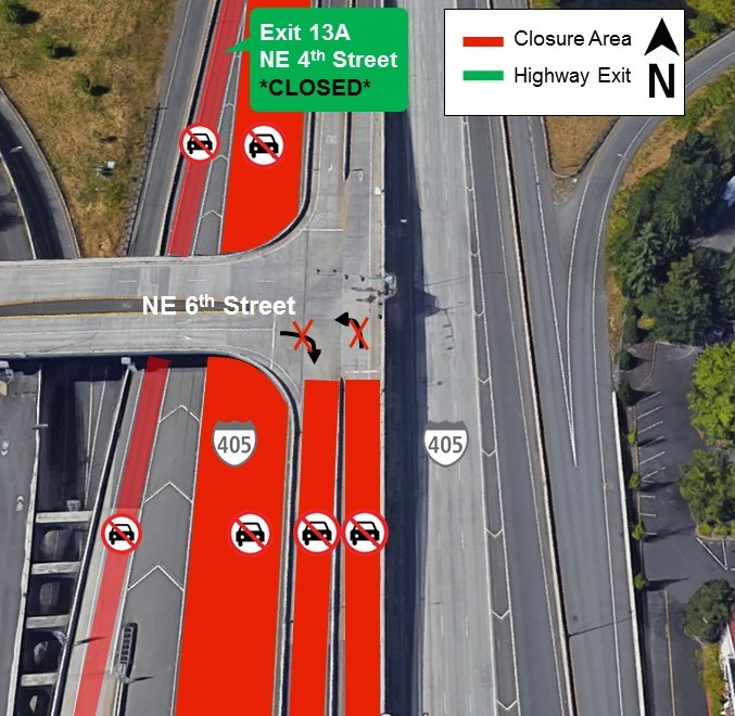Map of I-405 closures for Monday, Aug. 5.