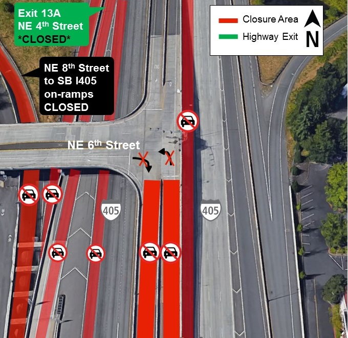 Map of I-405 closures for Thursday, Aug. 8.