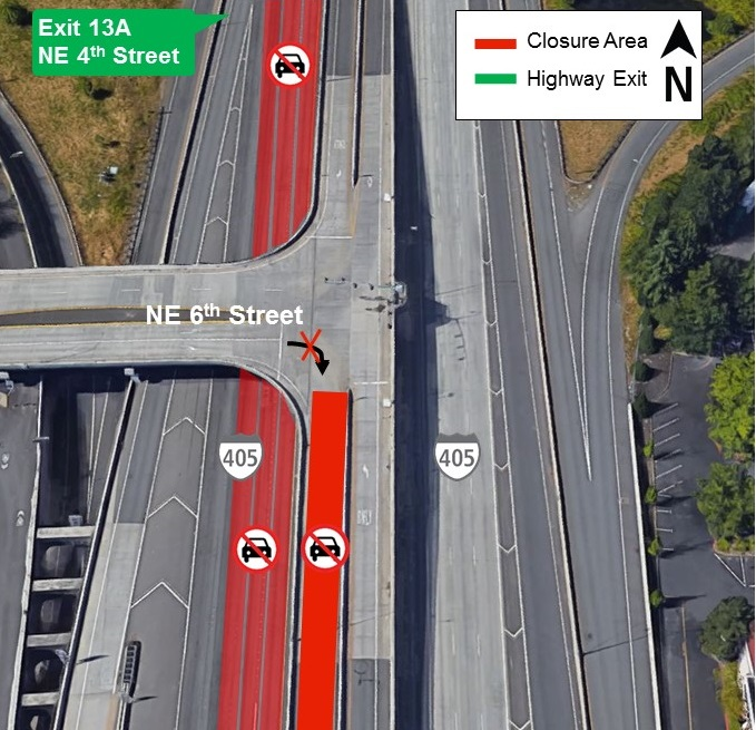 Map of I-405 closures for Monday, Aug. 26.
