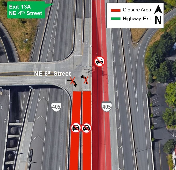 Map of I-405 closures for Tuesday, Aug. 27.