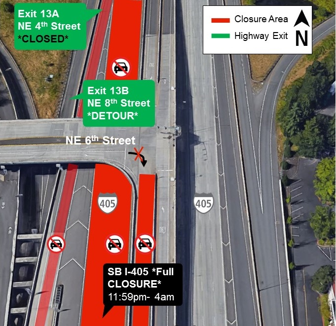 Map of I-405 closures for Wednesday, Aug. 28.