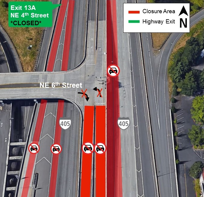 Map of I-405 lane closures for Aug. 19.
