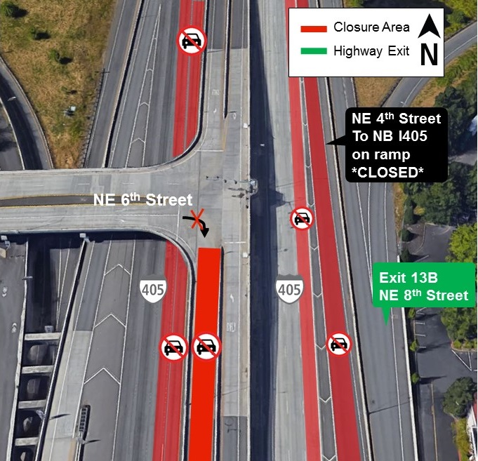 Map of I-405 lane closures for Aug. 20.
