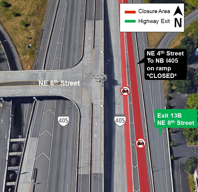 Map of I-405 lane closures for Aug. 22.