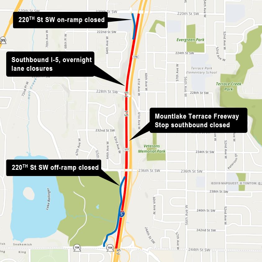 Map of Interstate 5 ramp closures.