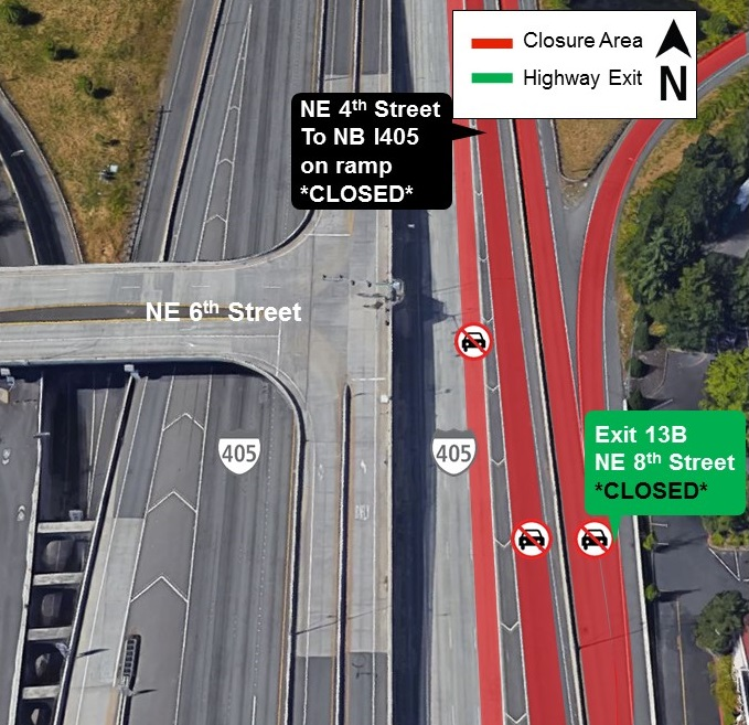 Map of I-405 closure area