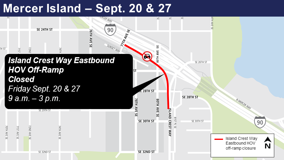 Map of Island crest way Friday closures