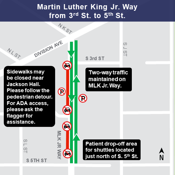 Map of MLK Way Jack-and-bore work area