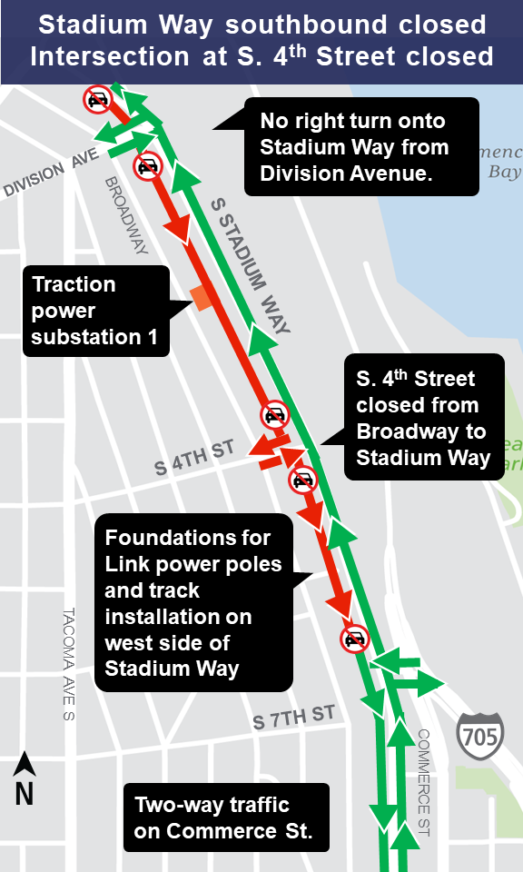 Map of southbound Stadium Way closure