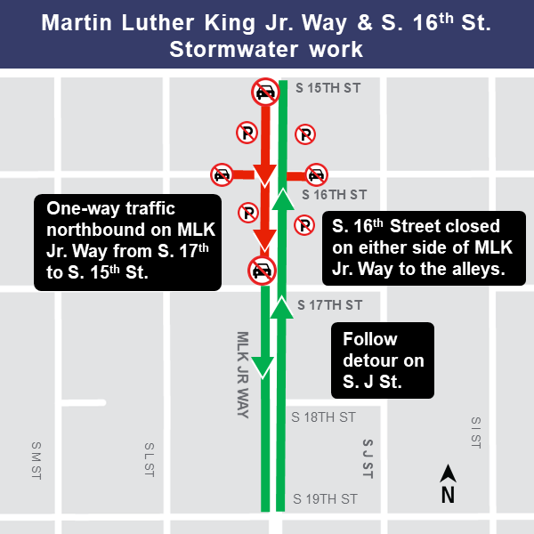 Map of stormwater work at Martin Luther King Jr. Way and South 16th Street.