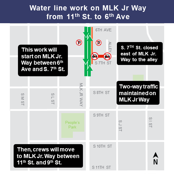 Map of water line work on Martin Luther King Jr. Way from 11th Street to 6th Avenue.