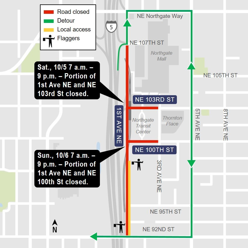 Map of street closures and detours around Northgate Transit Center.