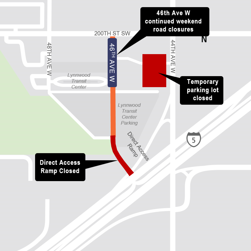 Map of HOV ramp closure by Lynnwood Transit Center.