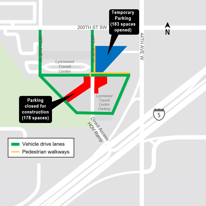 Map of parking closure at the Lynnwood City Center.