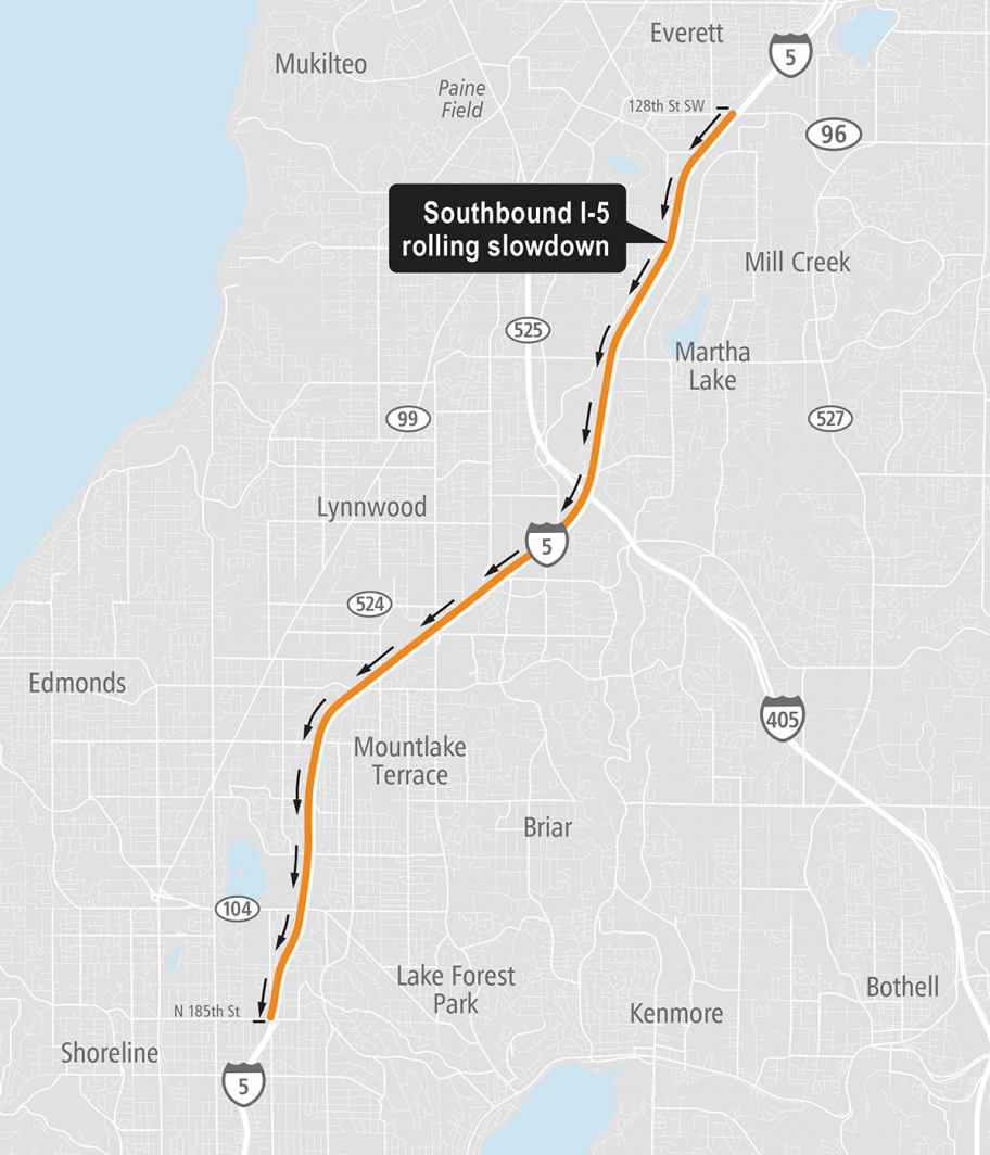 I-5 South rolling slowdown map
