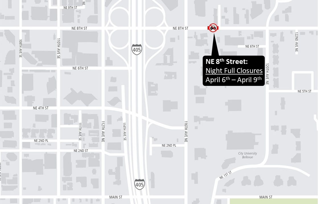 NE 8th St Nighttime closures map