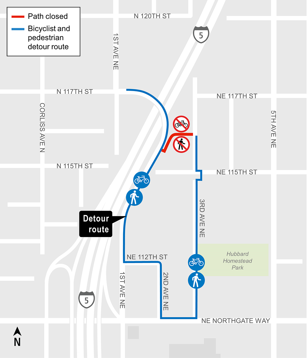 Construction map of NE 116th St Trail Closure detour, Lynnwood Link Extension
