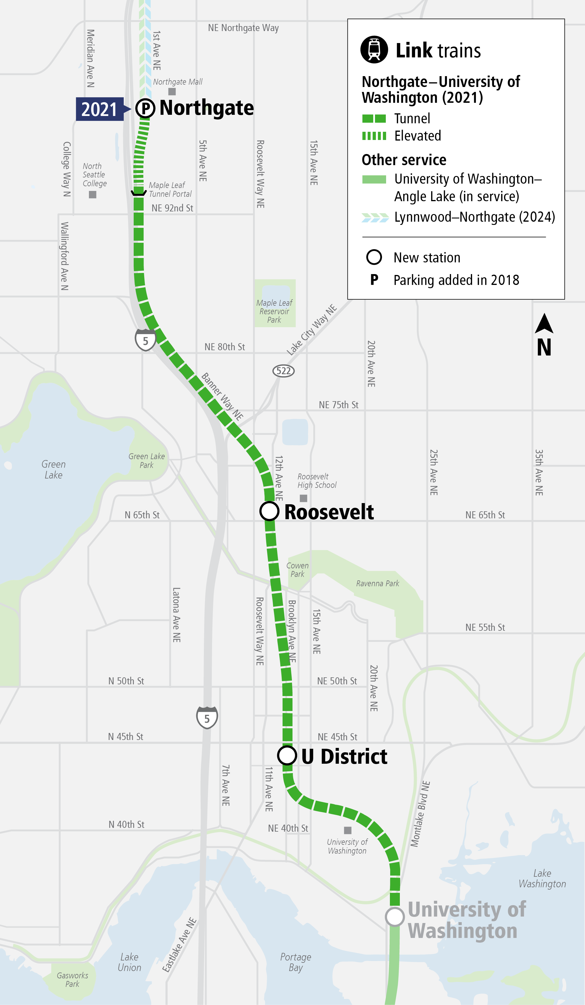 System Expansion web map for Northgate Link Extension