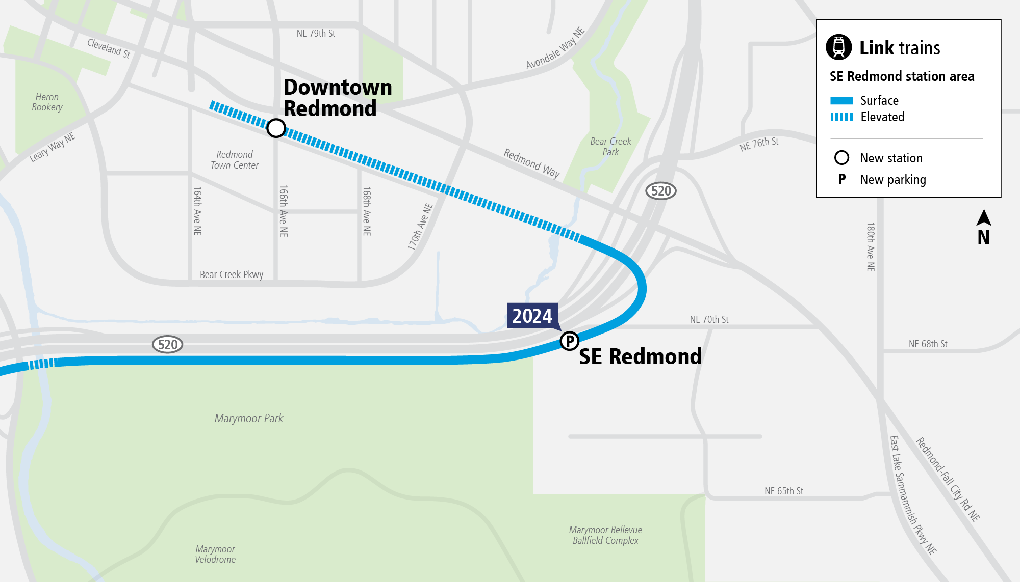 System Expansion web map for Southeast Redmond Station
