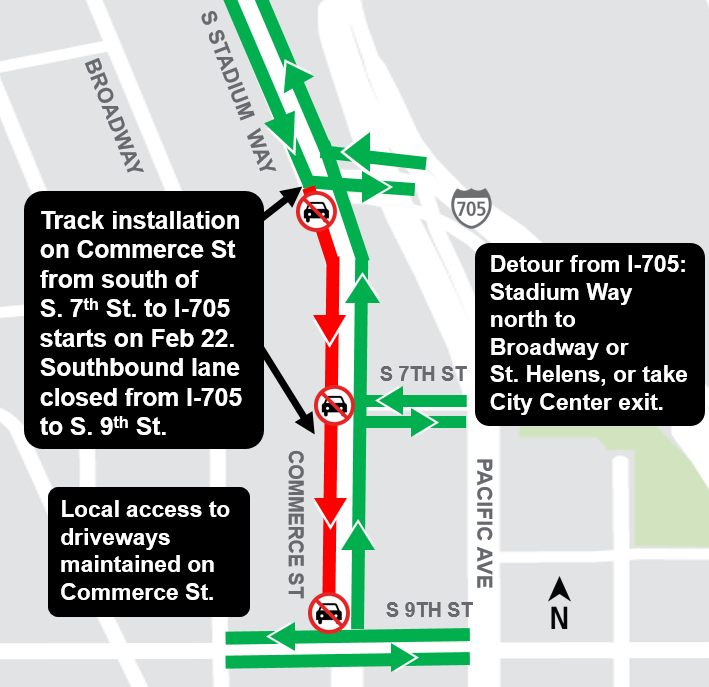Construction map for Commerce street, Hilltop Tacoma Link Extension