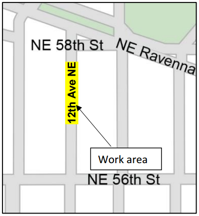 12th Ave NE work area for water main replacement