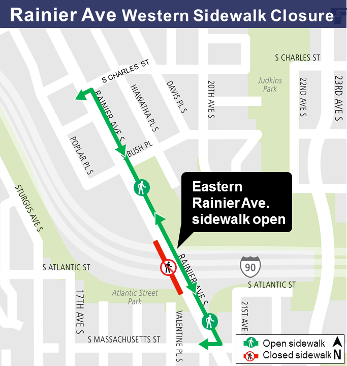 Rainier Ave western sidewalk closure
