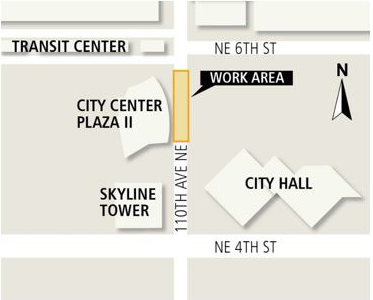 Map of the work area on 110th Ave NE, Bellevue.
