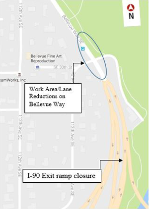 Map of PSE work area and lane restrictions on Bellevue Way.