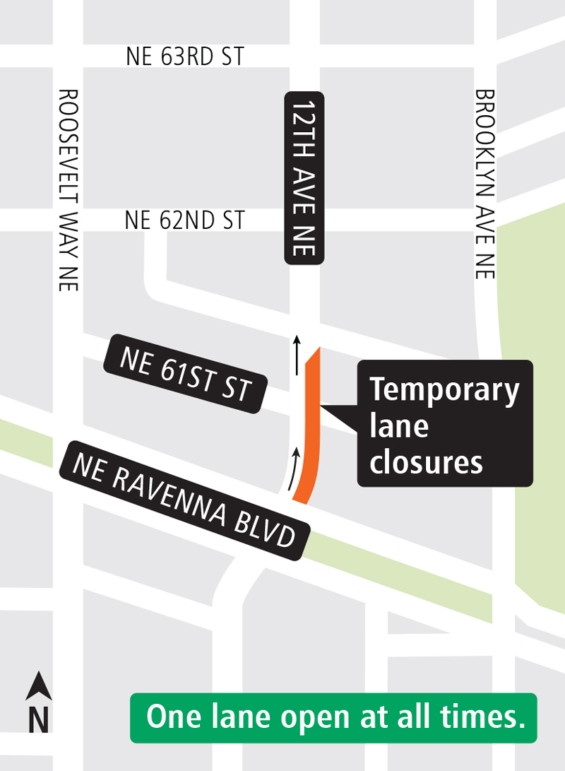 Map of construction work on 12th Ave NE and NE 61st St.