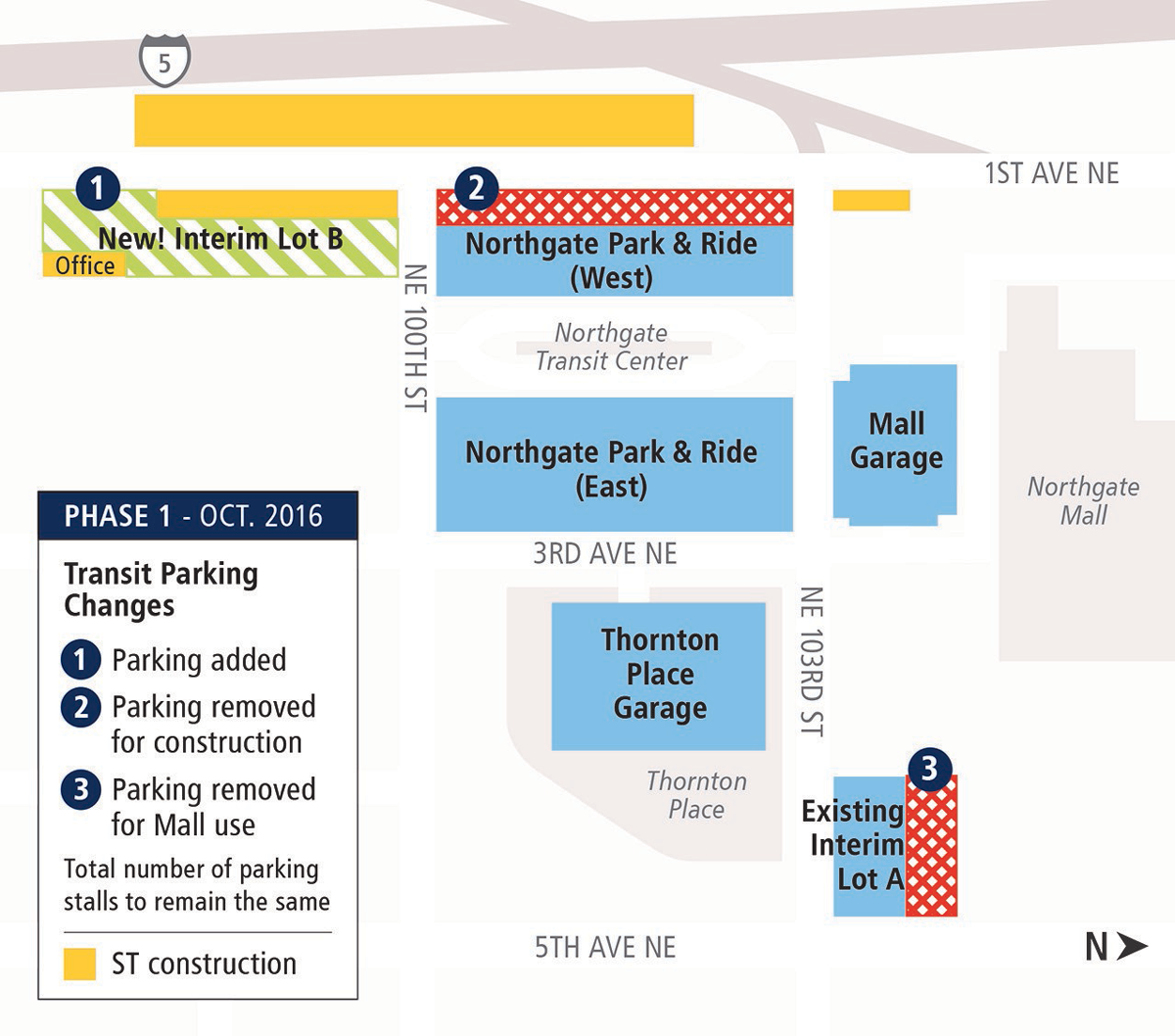 Map of upcoming changes to the Northgate Transit Center Park-and-Ride.