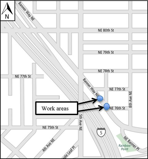 Map of the Banner Way NE & NE 76th Street work area.