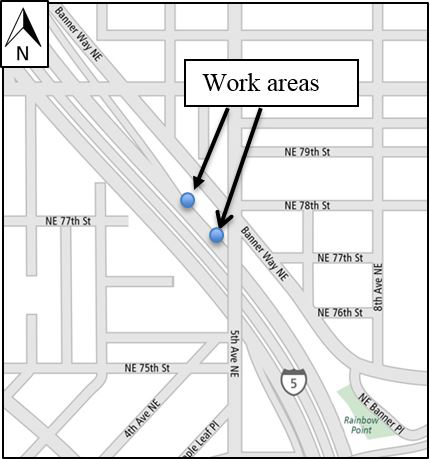 Map of the Banner Way NE & NE 78th Street work area.