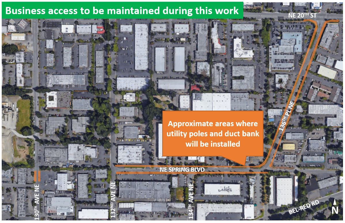 Map of utility poles construction area