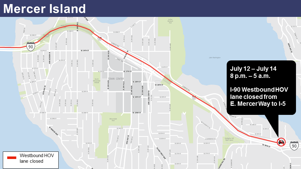 Map of I-90 express lane closure July 12-14