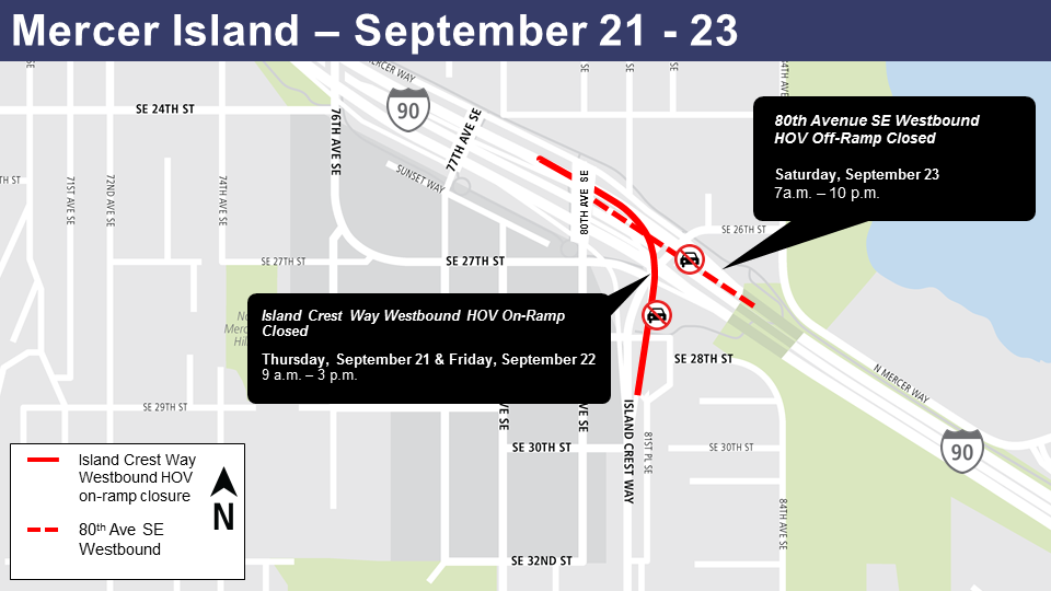 Map of Mercer Island closure Sept. 21-23