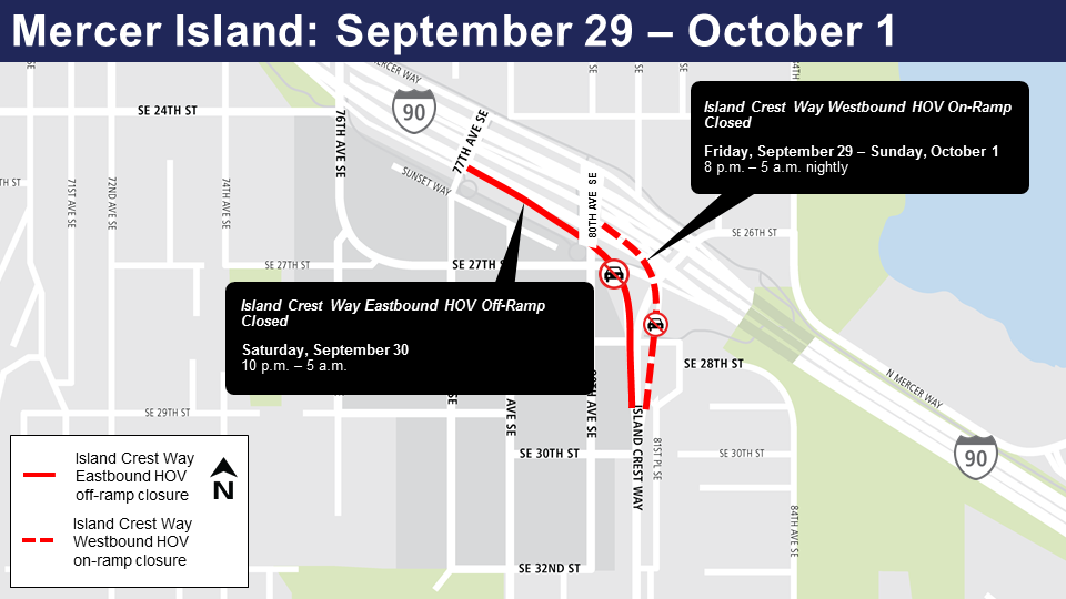 Map of Mercer Island closures Sept. 29-Oct. 1