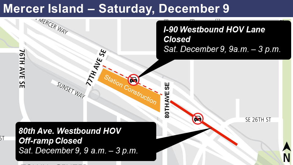 Map of I-90 westbound HOV lane closure, and 80th Ave. westbound HOV off-ramp closure, Dec., 9, 2017