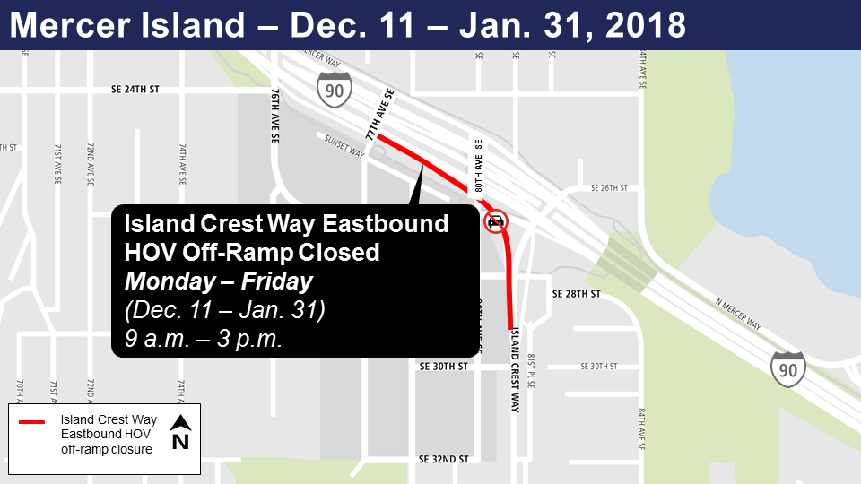 Map of Island Crest Eastbound HOV off-ramp closure Dec. 11-Jan. 31