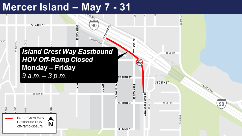 Map of Island Crest Way Eastbound closures on Mercer Island starting Monday, May 7th