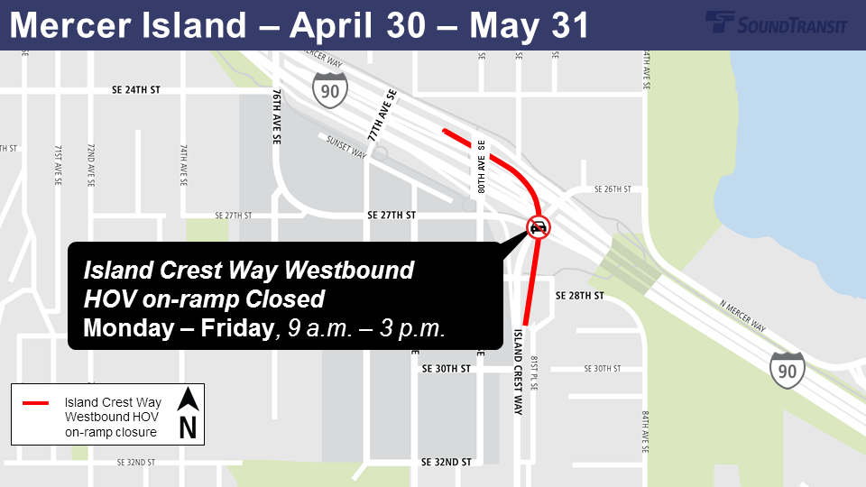 Map of Island Crest Way Westbound closures on Mercer Island starting Monday, April 30th