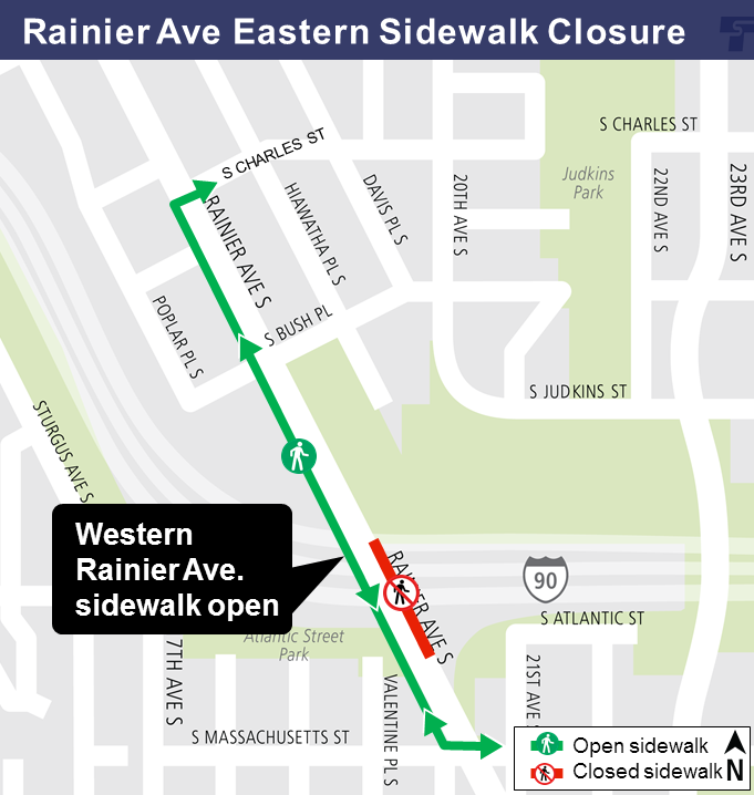 Rainier Ave Eastern Sidewalk Closure