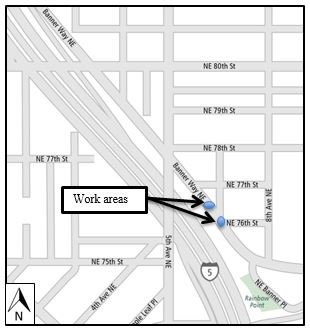 Map of Banner Way closure at 76th St. December 2016