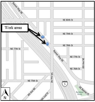 Map of Banner Way lane closure at NE 78th St.