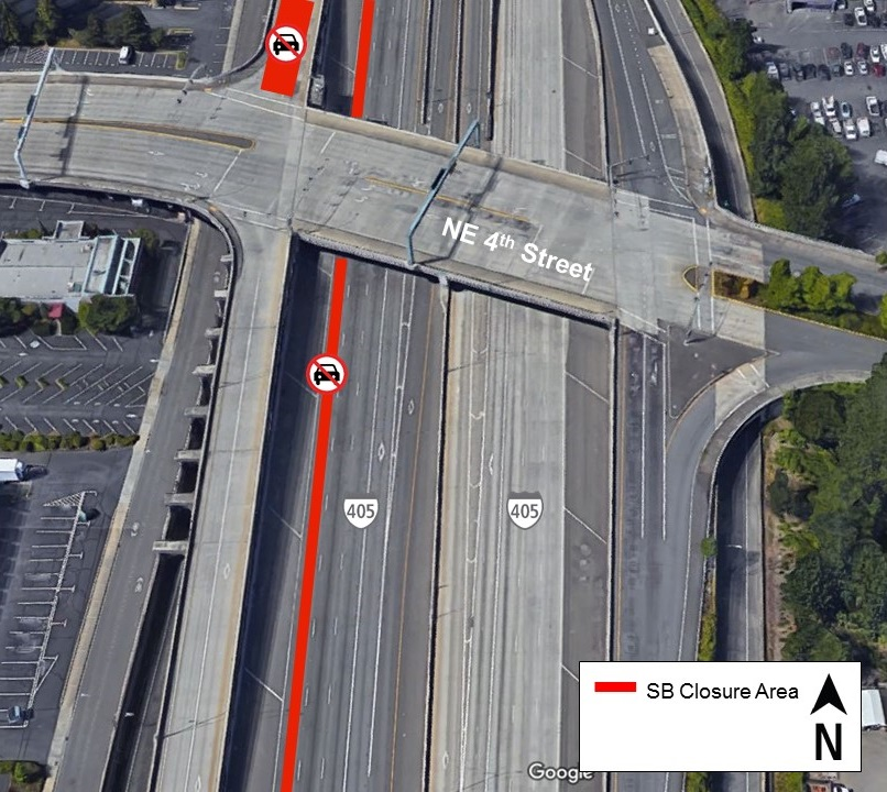 Map of March 12-15 overnight lane closures I-405