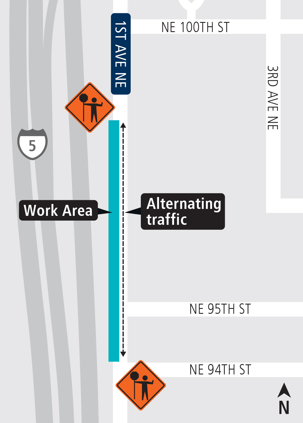 Map of 1st Ave and 94th St. work area February 2018