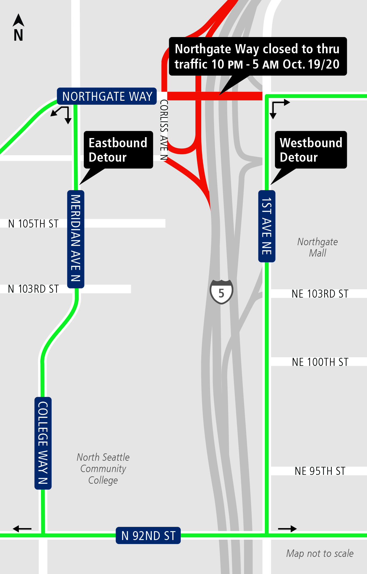 Map of construction on Northgate Way Oct. 19-20