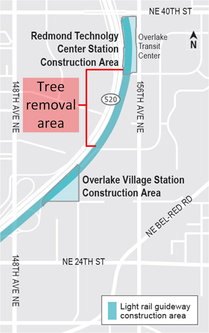 Map of tree removal area at Overlake Village Station
